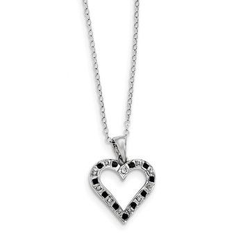 Sterling Silver Diamond Mystique Black & White Diamond Necklace w heart
