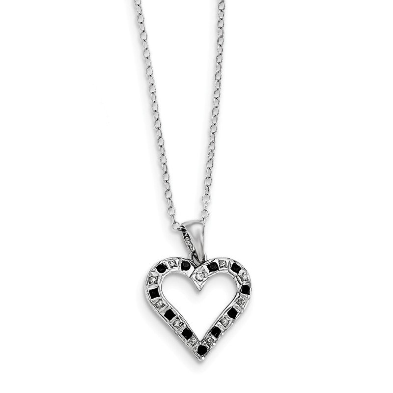 Quality Gold Sterling Silver Black & White Diamond Necklace w heart
