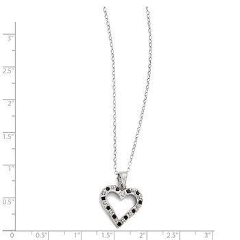 Sterling Silver Black & White Diamond Necklace w heart