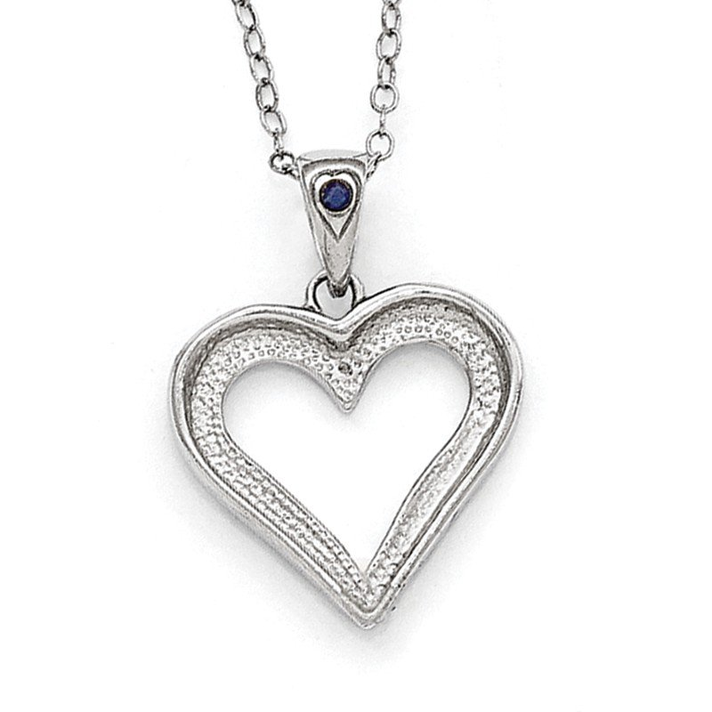 Quality Gold Sterling Silver Diamond Mystique Black & White Diamond Necklace w heart