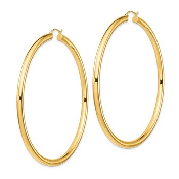14k 4mm Polished Hoop Earrings