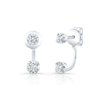 White Gold Double Stud Earring