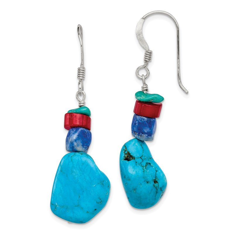 Quality Gold Sterling Silver Red Coral/Howlite/Lapis/Turquoise Dangle Earrings
