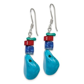 Sterling Silver Red Coral/Howlite/Lapis/Turquoise Dangle Earrings
