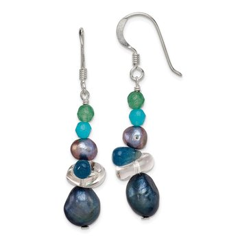 Sterling Silver Aventurine, Crystal/FW Cultured Pearl Dangle Earrings