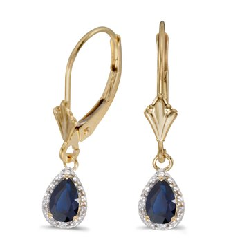 14k Yellow Gold Pear Sapphire And Diamond Leverback Earrings