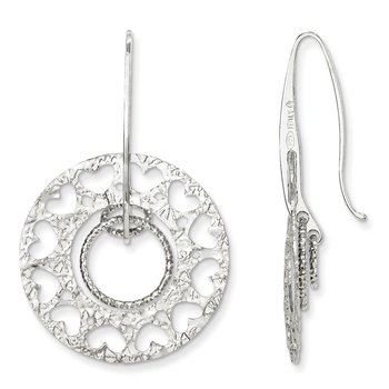 Leslie's SS Textured and Laser-cut Dangle Shepherd Hook Earrings