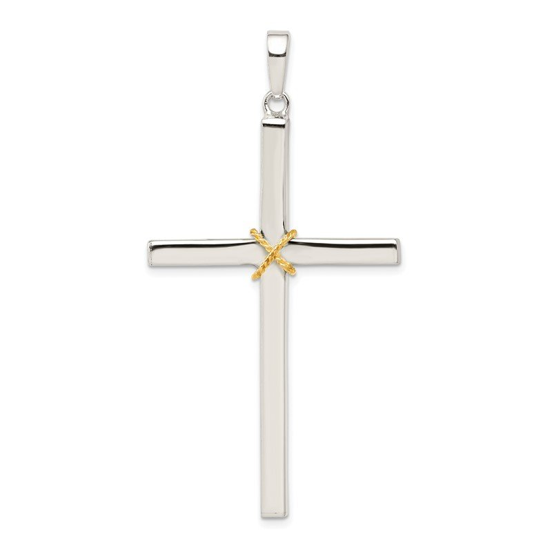 Quality Gold Sterling Silver Polished w/Gold-plated Rope Hollow Crucifix Pendant
