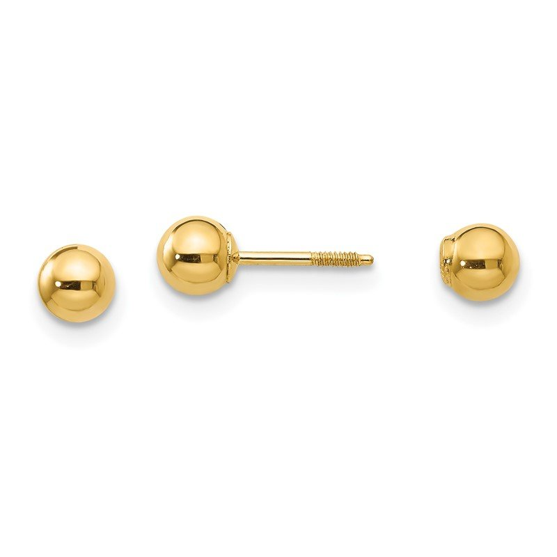 Quality Gold 14k Madi K Polished Reversible 4mm Ball Earrings