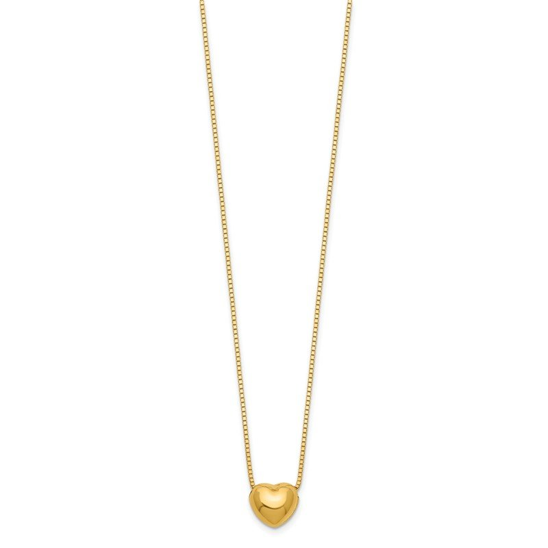 Quality Gold 14k 16 Chain with Heart Charm Necklace