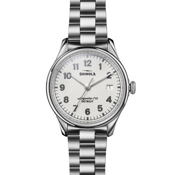 The Vinton 38mm Stainless White Dial Bracelet Watch