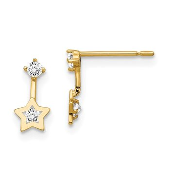 14k Madi K CZ Star Dangle Post Earrings