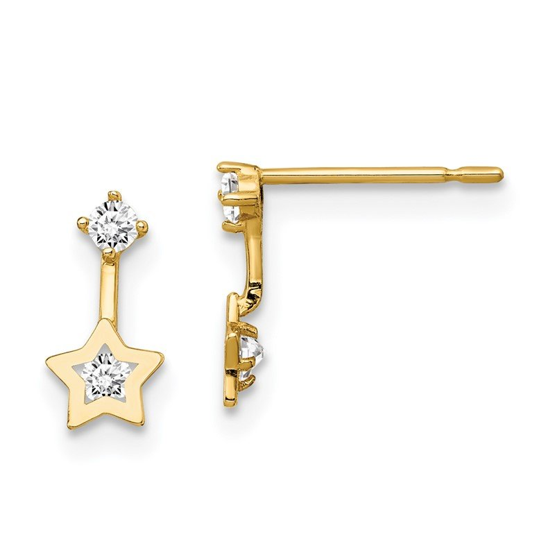 Quality Gold 14k Madi K CZ Star Dangle Post Earrings