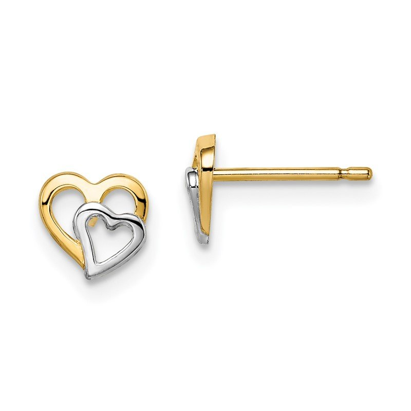Quality Gold 14k Madi K & White Rhodium Cut-out Hearts Post Earrings