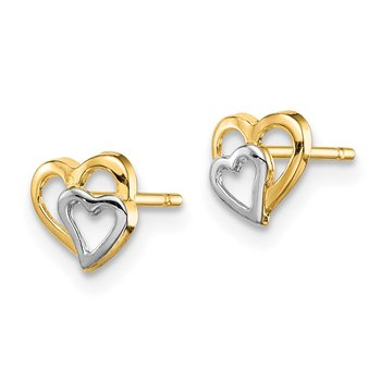 14k Madi K & White Rhodium Cut-out Hearts Post Earrings
