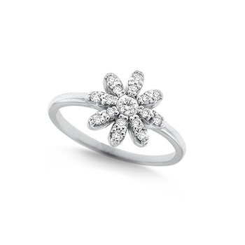 Diamond Daisy Ring in 14k White Gold with 17 Diamonds weighing .23ct tw.