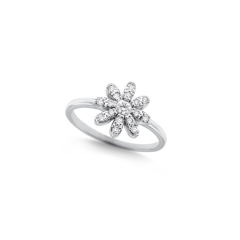 MAZZARESE Fashion Diamond Daisy Ring in 14k White Gold with 17 Diamonds weighing .23ct tw.