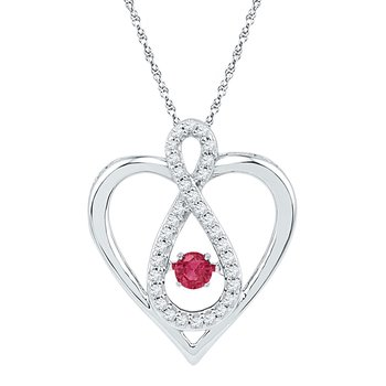 10kt White Gold Womens Round Lab-Created Ruby Diamond Infinity Heart Pendant 1/4 Cttw