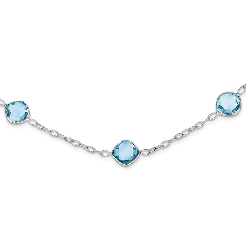 Quality Gold Sterling Silver Rhodium-plated 18In. Blue Topaz Necklace