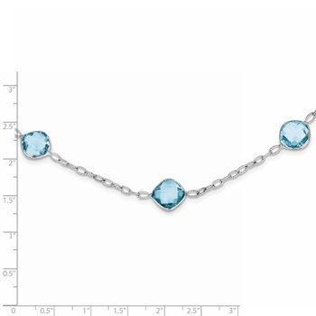 Sterling Silver Rhodium-plated 18In. Blue Topaz Necklace
