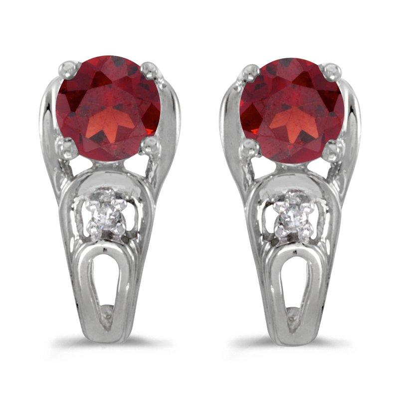 Color Merchants 10k White Gold Round Garnet And Diamond Earrings