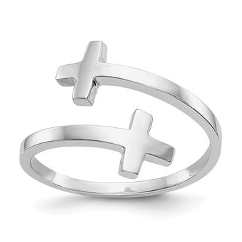 14k White Gold Polished Double Cross Ring