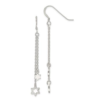Sterling Silver Polished Star of David Chain Dangle Earrings