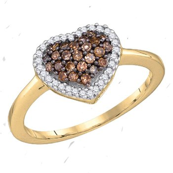 10kt Yellow Gold Womens Round Cognac-brown Color Enhanced Diamond Heart Love Ring 1/3 Cttw