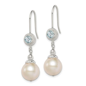 Sterling Silver Blue Topaz FW Cultured Pearl Drop Earrings