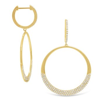 14k Gold and Diamond Mini Hoops with Open Circle Charms