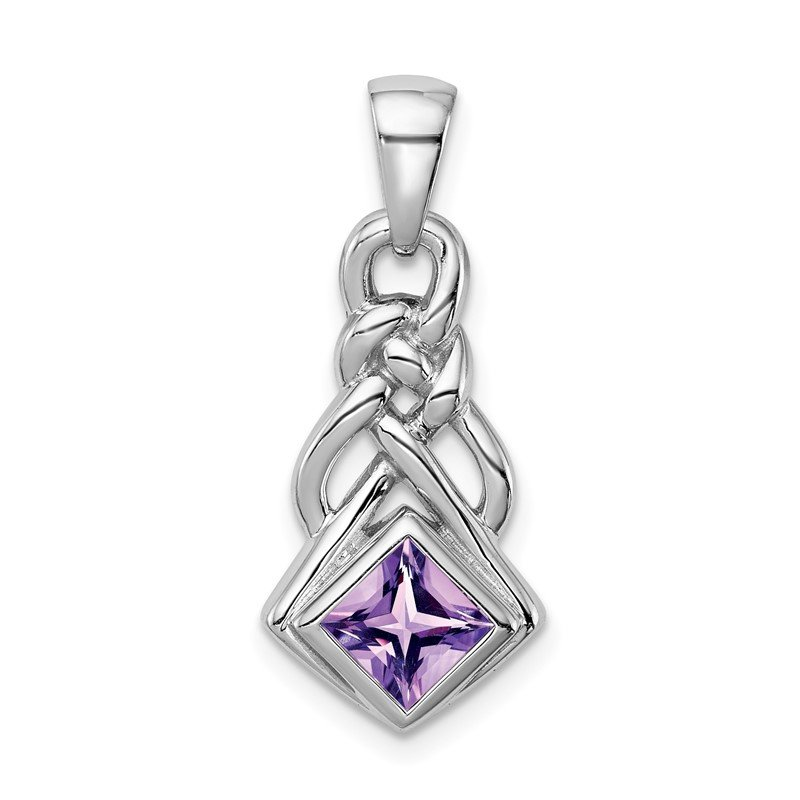 Quality Gold Sterling Silver Rhodium-plated w/Amethyst Pendant