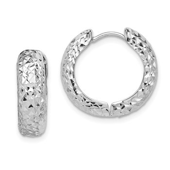 Sterling Silver Rhodium Polished Diamond Cut Hoop Earrings
