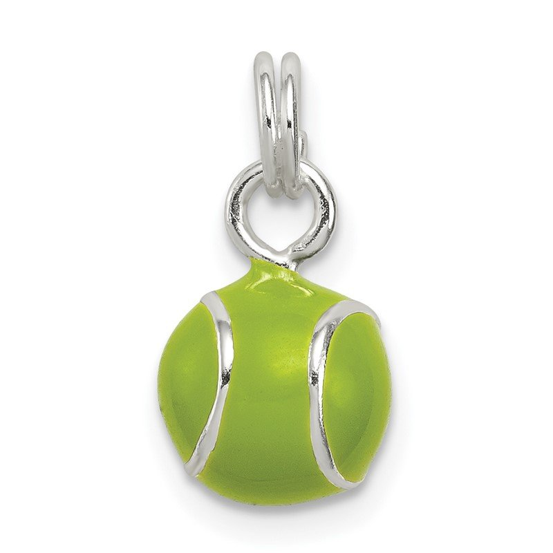 Quality Gold Sterling Silver Green Enameled Tennis Ball Charm