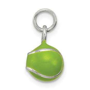 Sterling Silver Green Enameled Tennis Ball Charm