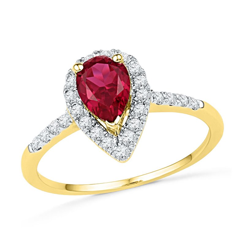 Kingdom Treasures 10kt Yellow Gold Womens Pear Lab-Created Ruby Solitaire Diamond Frame  Ring 1-1/5 Cttw