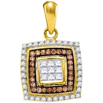 10kt Yellow Gold Womens Round Cognac-brown Color Enhanced Diamond Square Pendant 1/3 Cttw