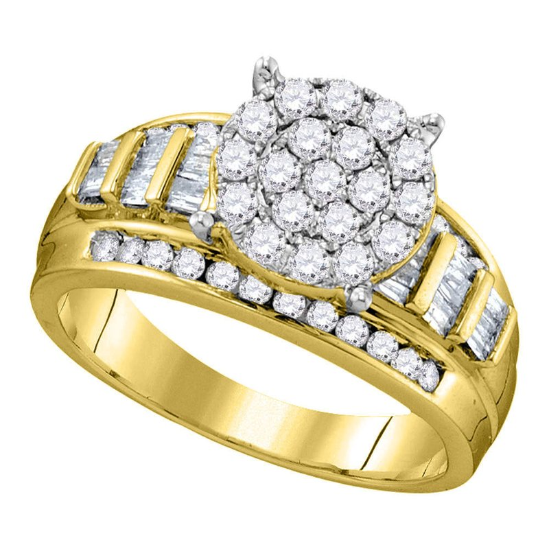 Gold-N-Diamonds 10kt Yellow Gold Womens Round Diamond Cindys Dream Cluster Bridal Wedding Engagement Ring 2.00 Cttw