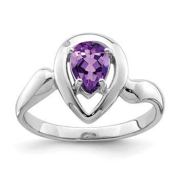 Sterling Silver Rhodium-plated Diamond accent Pear Shaped Amethyst Ring