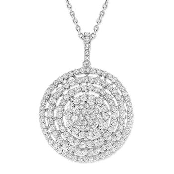 Diamond Large Pave Disc Necklace in 14K White Gold with 147 Diamonds Weighing  1.61ct tw