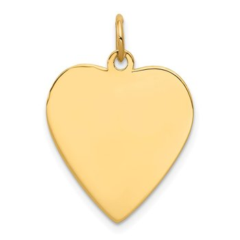 14k Plain .009 Gauge Engravable Heart Disc Charm