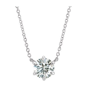 "14K White 1/4 CTW Diamond Solitaire 16"" Necklace"