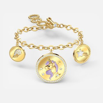 Out of this World Unicorn Bracelet, Medium, Purple, Gold-tone plated