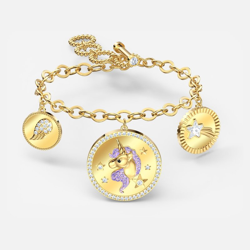 Swarovski Out of this World Unicorn Bracelet, Medium, Purple, Gold-tone plated