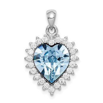 Sterling Silver Rhodium-plated Clear & Blue Crystal Heart Pendant