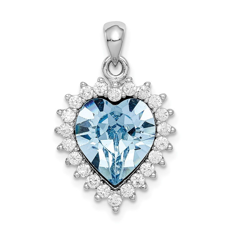 Quality Gold Sterling Silver Rhodium-plated Clear & Blue Crystal Heart Pendant