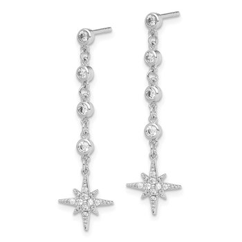Sterling Silver Rhodium-plated CZ Drop Starburst Post Earrings