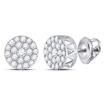 14kt White Gold Womens Round Diamond Circle Frame Cluster Earrings 1.00 Cttw