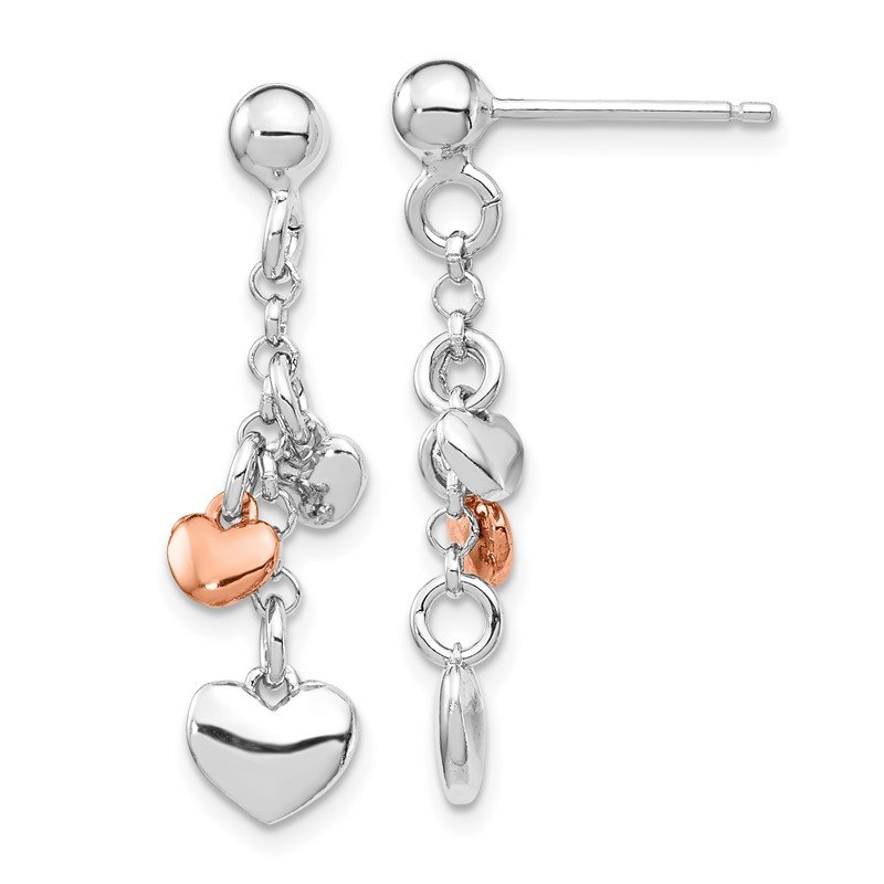 Quality Gold Sterling Silver RH-plated Rose gold-plated Heart Dangle Earrings