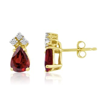 14k Yellow Gold 7X5 Pear Garnet and Diamond Earrings