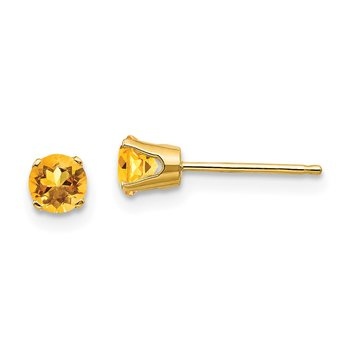 14k 4mm November/Citrine Post Earrings
